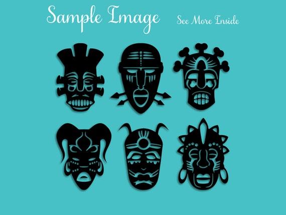 Tribal Masks Svg Mask Svg Tribal Svg Silhouette Vector Tattoo Etsy