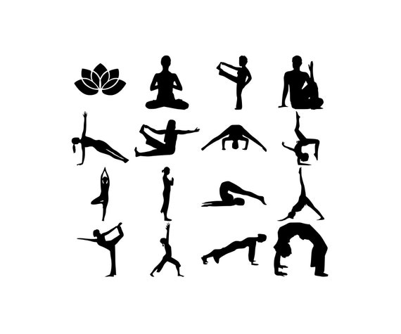 Yoga Pose Svg Dxf Png Silhouette Cutting File Yoga Clipart Etsy