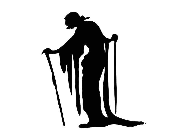 Old Man Svg Halloween Svg Old Woman Silhouette Vector Png Dxf Etsy