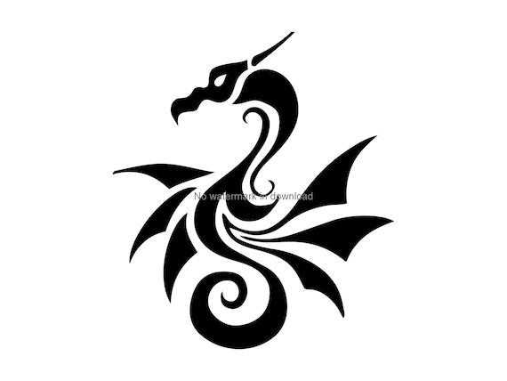 Dragon Clipart Tribal Dragon Iron On Svg Tribal Dragon Dxf Etsy
