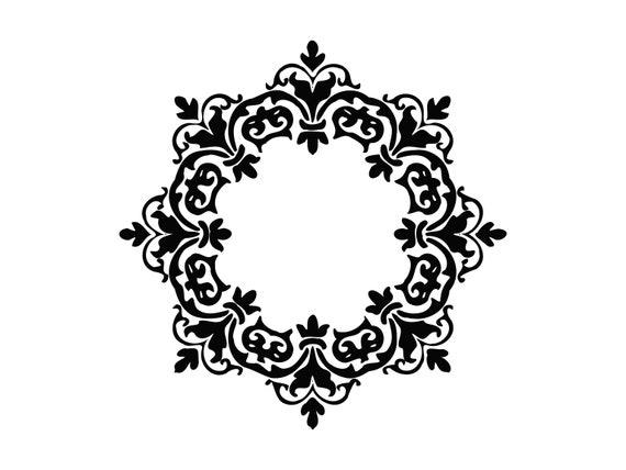 Damask Frame Svg Damask Pattern Svg Floral Damask Flourish Etsy Delectable Damask Pattern