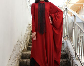 Plus Size Dress/Boho clothing/ Long Dress/Maxi Long Dress/Plus Size Maxi Dress/Long Sleeves Dress/Cotton Dress/Long Kaftan/by Fraktura D0041