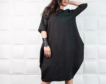 Summer Linen Dress/ Loose Fit Dress/ Plus Size Dress/ Boho Dress/ Linen Kimono/ One Size Linen Tunic/ Everyday Dress/ D0032