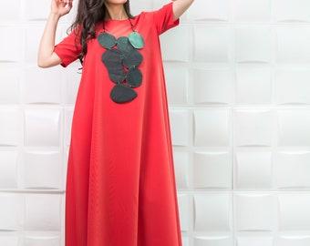 Coral Maxi Dress, Caftan, Plus Size DRESS, Day Dress, Plus size maxi dress, Kaftan,Maternity Maxi Dress, Long dress / D0026