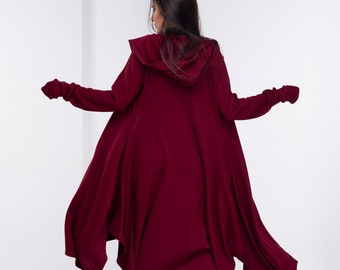 oversized purple Crushed Velvet   hooded cloak with sleeves more colours