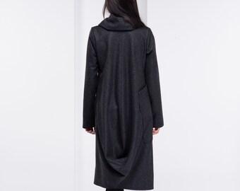 Wool Coat, Asymmetrical Coat, High Collar Jacket, Maxi Wool Cardigan, Oversize Collar Coat, Plus Size Clothing, Drape Coat, Modern Coat