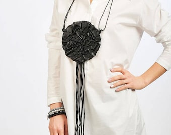 Long Leather Necklace / Extravagant Leather Stripes/ Party Chic Accessory by FRKT N0006