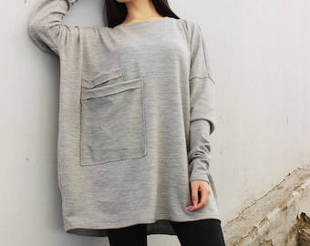 9da7c510793 Grey Tunic  Tunic Tops Womens Sweater Boho Top Oversized tunic  Plus Size  Maxi Long Sleeves Top Oversized Sweater Knit sweater  B0067
