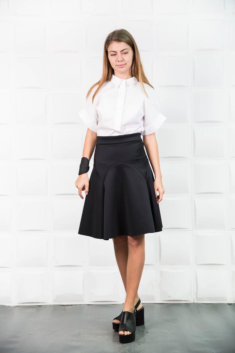 Flare Skirt Party Loose Skirt High Waist Skirt Neoprene Skirt Pleated Skirt Cocktail Skirt Plus Size Skirt Midi Skirt Black Skirt