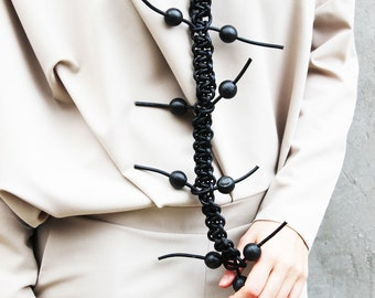 New Collection Long Leather Necklace / Extravagant Macrame Black Necklace/ Party Chic Accessory by Fraktura N0002