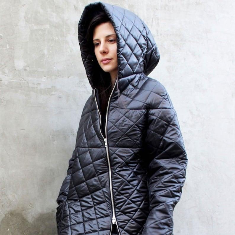 bc250e8bb8d Long rain coat Black puffer coat Bomber jacket zipper