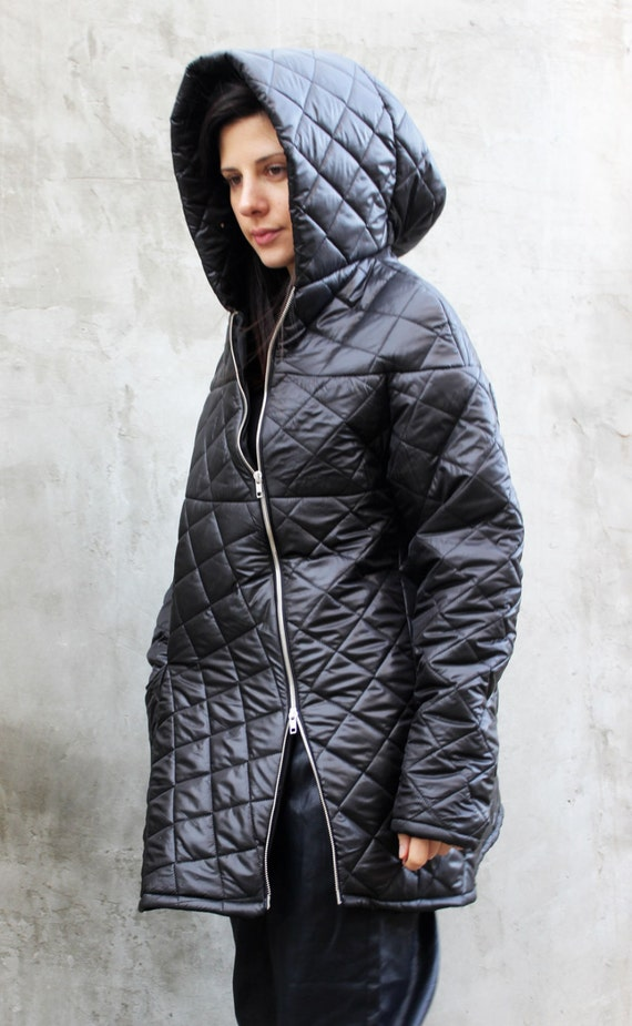 Quilted Jacket Plus Size Jacket Puffer Jacket Black Winter Coat Hooded Jacket Waterproof Jacket Raincoat Jacket Plus Size Clothing