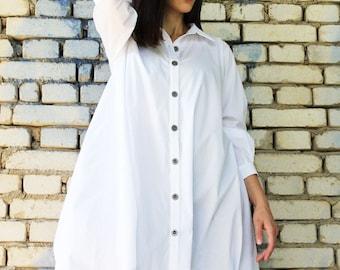 White Loose Shirt / Long Sleeved Top / Asymmetrical Oversize Shirt / Loose Cotton Shirt / B0037