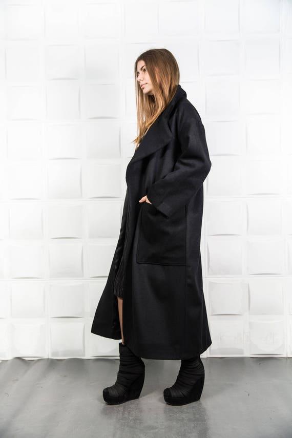 09b361ddaf3 Maxi coat Black warm coat Black plus size coat Loose winter