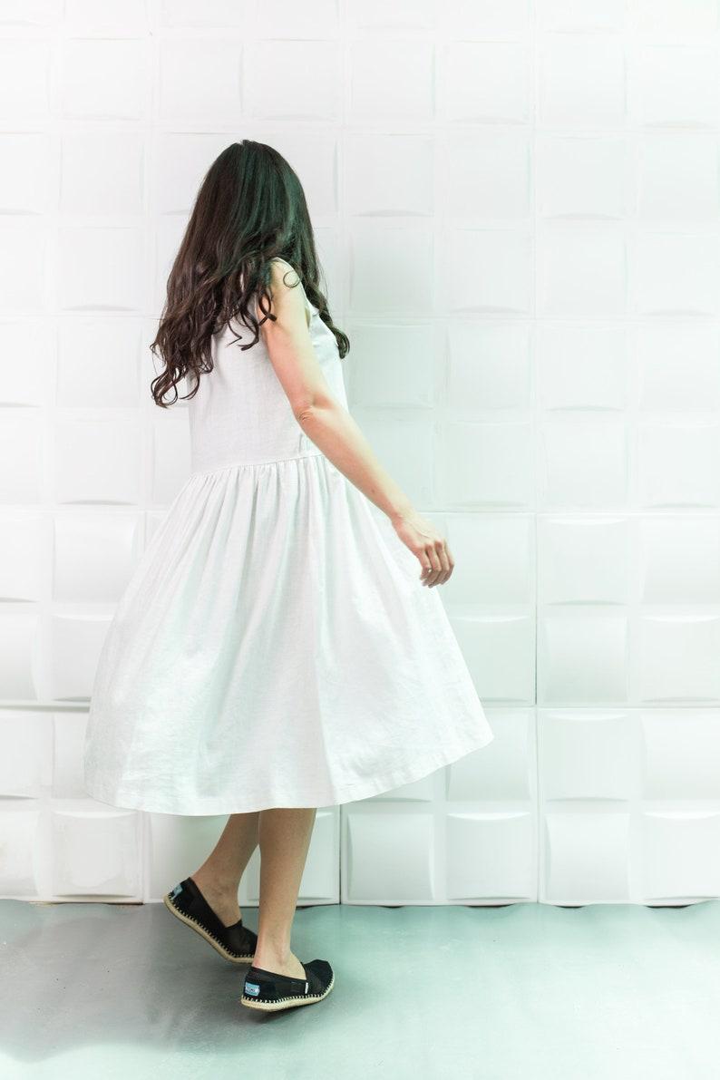 f637a339799 White linen dress Linen dress Linen kaftan Linen robe Midi