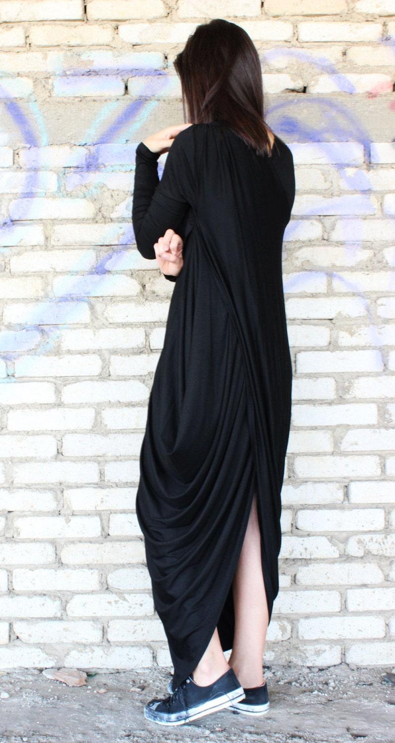 Kaftan Dress Black Tunic Dress Black Asymmetrical Dress Plus Size Dress Steampunk Loose Dress Extravagant Dress Maxi Tunic Dress
