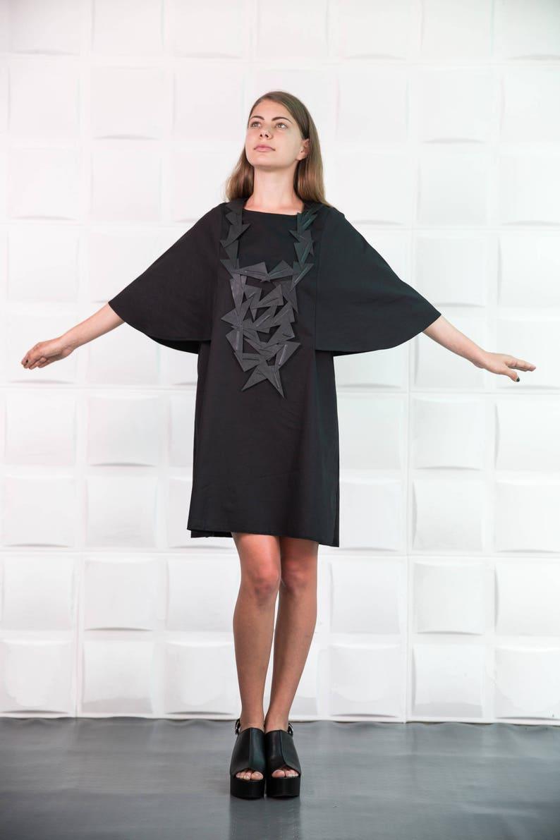 c8eb1bce34c Black Kimono Dress Batwing Sleeve Dress Black Midi Dress
