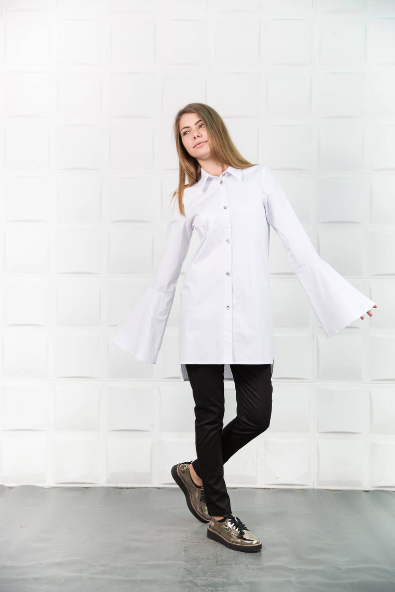 e2dec3085f513a White cotton shirt Asymmetrical shirt Womens white