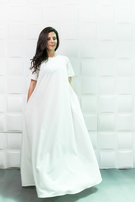 White Maxi Dress, Plus Size Maxi Dress, Plus Size Clothing, Caftan Dress,  White Summer Dress, Women White Dress, White Caftan, Loose Dress