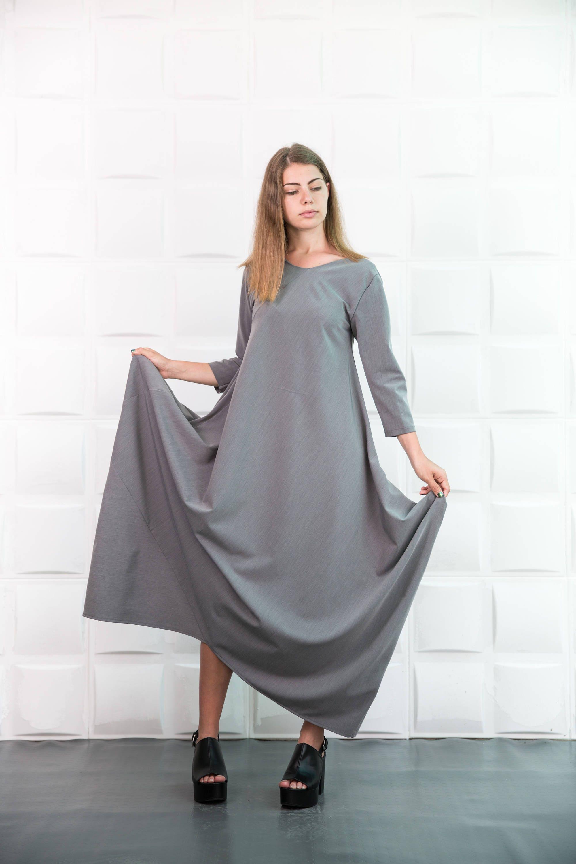 Grau Maxi-Kleid Kaftan Abaya PLUS SIZE Kleid Plus size