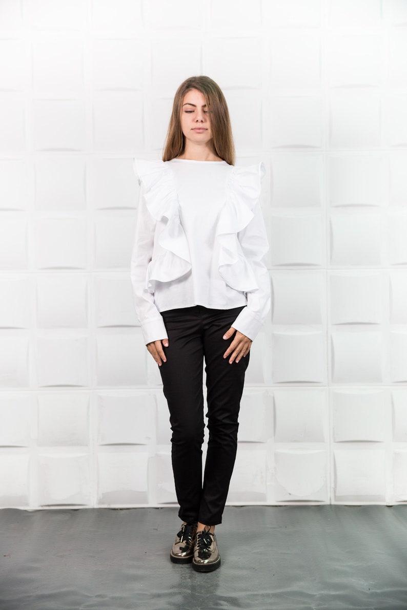 2cbef39091661 Ruffle blouse Ruffle shirt White shirt Asymmetric tunic