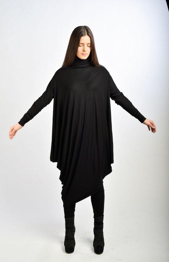 Geliefde Zwarte lange jurk / extravagante Oversized jurk / lange mouwen   Etsy @FU45