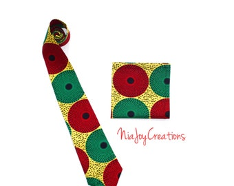 African Clothing: Ankara African Print Tie and Pocket Square F Ready to Ship