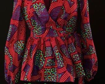 African Clothing: Moe African Print Wrap Peplum Blouse