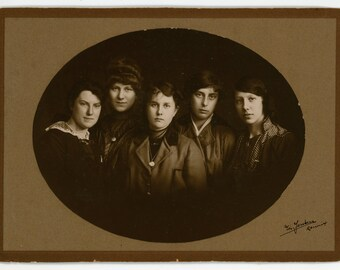 Antique Card Photo - All women - group shot of girls, young women, sisters, friends, strong portrait photograph