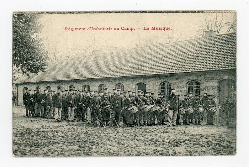 Infantry regiment on base - The band - vintage postcard - mailed 1911-  Belgium military- Camp Beverloo