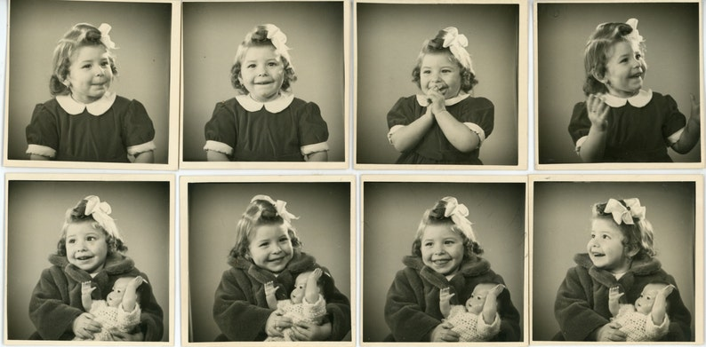 children kids doll gift joy Vintage photos /'Happy Sequence/' group of 8 pictures vernacular photography young girl