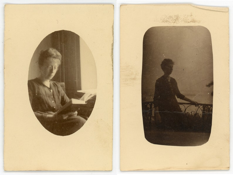 woman Antique photos /'Serene Moments/' portraits of a lady reading and at a balcony vintage photos
