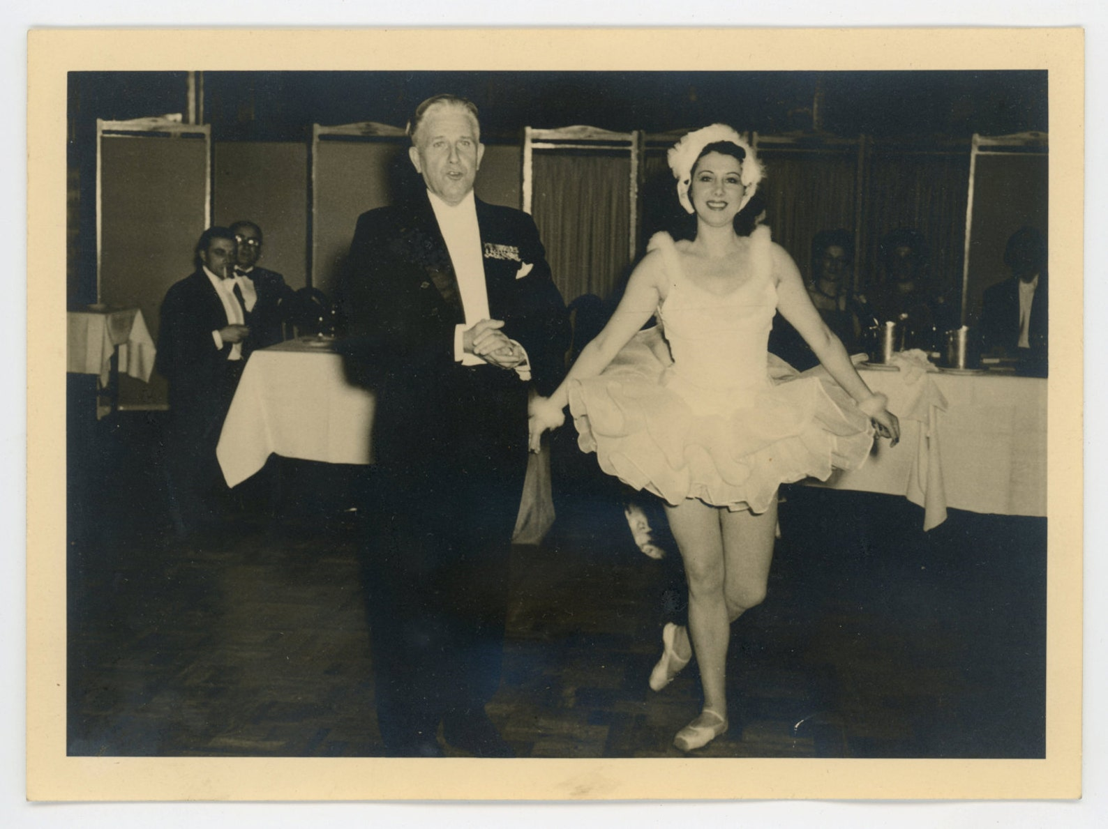 ballerina and gentleman - 1950s vintage photograph - toe shoes- tutu- man in tuxedo- ballet dancer- paper ephemera