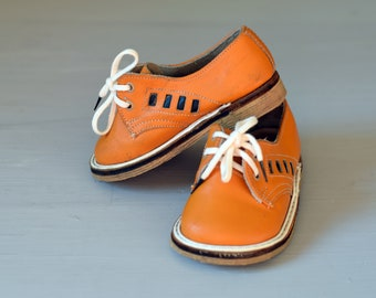 a0ac92977787 Vintage orange shoes for girls or boys Made in USSR in 1980 Soviet Vintage Baby  shoes