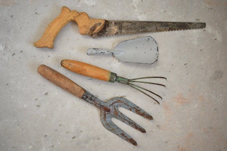 Dollhouse Miniature Fairy Rusty Metal Garden Tools Set 4 pc