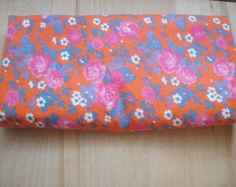 Flannel fabric 330 cm Soviet era Retro cotton fabric with floral pattern Made in the USSR in 1980 orange blue pink