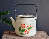 Vintage white tea kettle, Soviet enamel kettle, metal teapot stovetop, Soviet vintage teapot, farmhouse decor