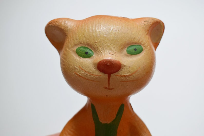 Rare Vintage rubber toy cat Soviet vintage 1950-s Toys for bath Made in USSR The catr in a green waistcoat