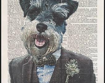 SCHNAUZER dog art pet groomer salon 11x14  artist prints animals