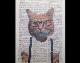 Ginger Cat Hipster Print Vintage Dictionary Print Page Wall Art Picture Kitten  Cute Friend  Funky Cool Humanised Animals in Clothes Human