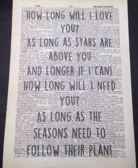 Ellie Goulding How Long Will I Love You Song Lyrics Vintage Dictionary Print Print Art Music Quirky Funky Home Decor Wall Art