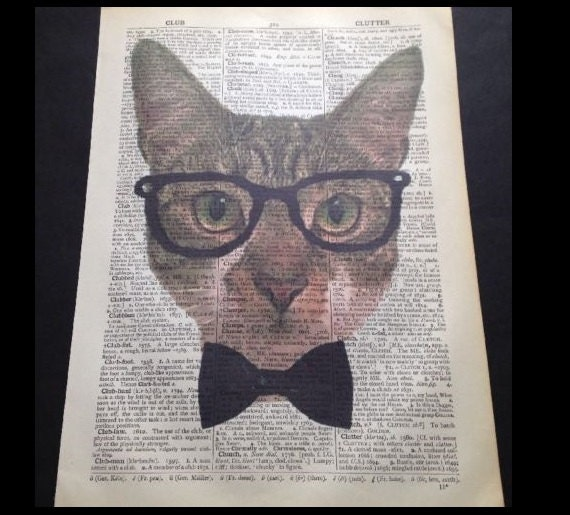 Cat Vintage Dictionary Wall Art Print Female Girl Animal In Clothes Red Dress