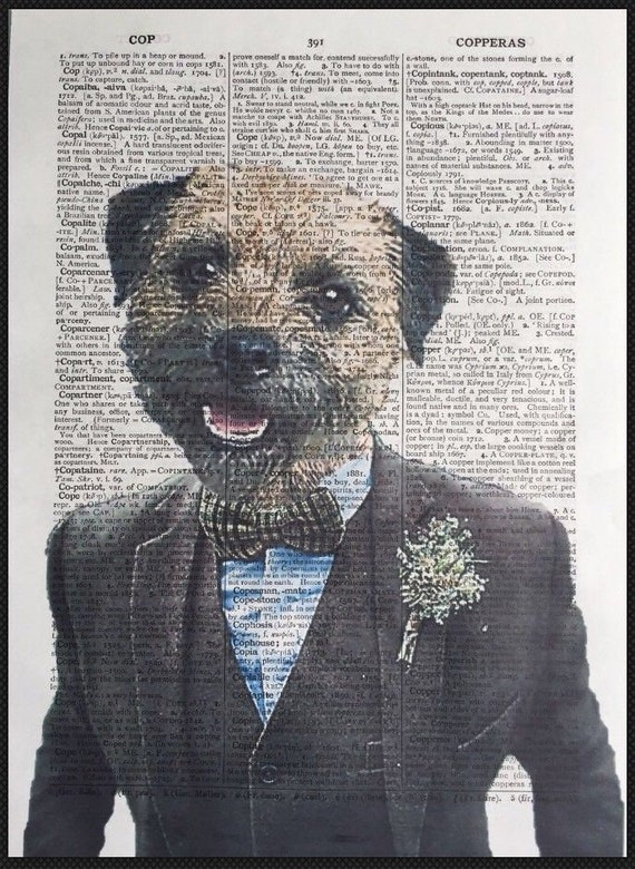 Labradoodle Print Vintage Dictionary Page Wall Art Picture Dog In Clothes Golden