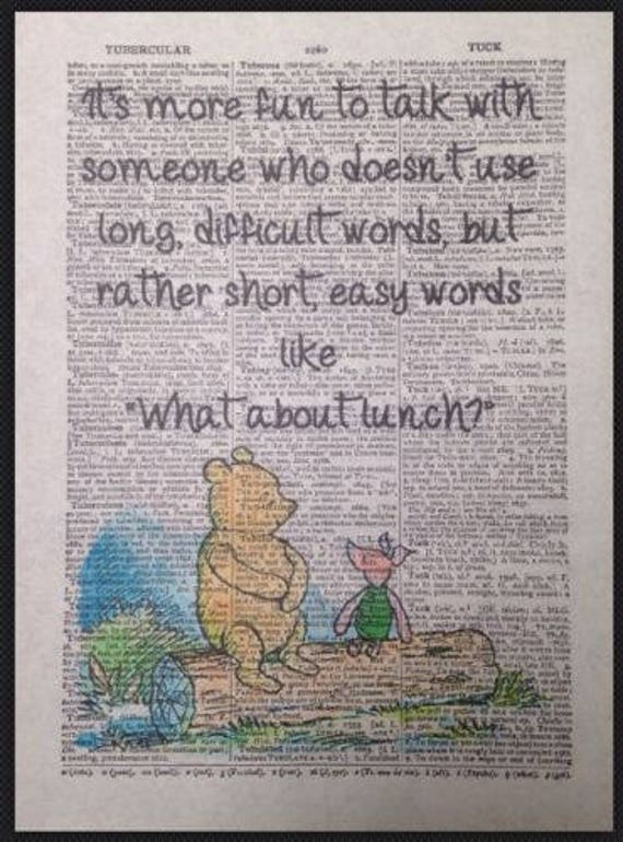 Art Print Antique Dictionary Page Winnie The Pooh Quote Piglet Friends Forever