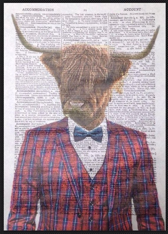 Tartan Vintage Highland Cattle Cow Print Dictionary Print Page Wall Art  Picture Sheep Hipster Quirky Funky Tuxedo Humanised Man Cave Human