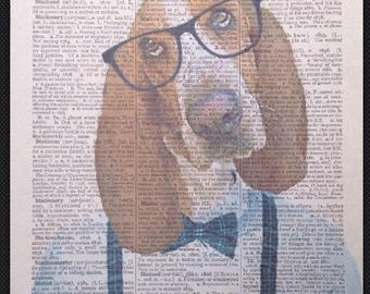 Basset Hound Vintage Dictionary Print Page Wall Art Picture Print Bow Tie Dog Cute  Gift Quirky  Humanised Animals in Clothes Man Cave Human