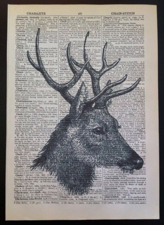 ART PRINT ON ORIGINAL ANTIQUE DICTIONARY PAGE Stag Birds Deer Vintage Picture