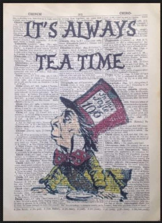 Retro Mad Hatter Vintage Art Print Original Book Page Alice Wonderland D-AIW-02
