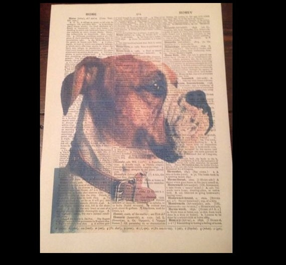 American Bulldog Print Vintage Dictionary Page Wall Art Picture Dog In Clothes