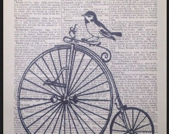 Vintage Bird Penny Farthing Bike Bicycle Dictionary Print Page Print Picture Wall Art